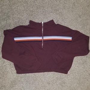 Wild Fable Cropped Half Zip Striped Sweatshirt